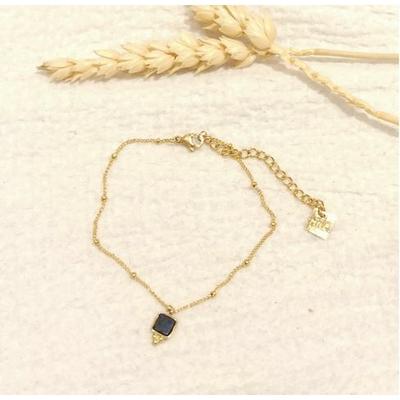 Bracelet carré bleu chaine billes alternées doré - Mile Mila