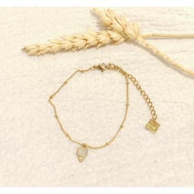 Bracelet carré vert chaine billes alternées doré - Mile Mila