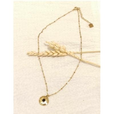 Collier soleil avec pierre noire doré - Mile Mila