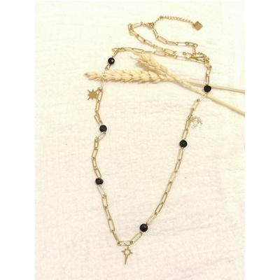 Collier constellation perles noires maille rectangulaire doré - Mile Mila