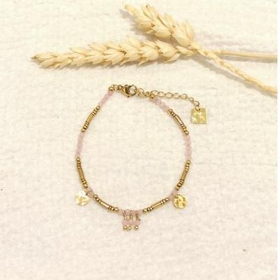Bracelet perles cristal de verre roses et breloques - Mile Mila