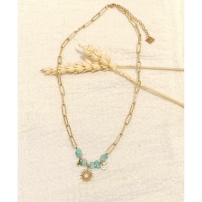 Collier soleil pierres vertes maille rectangulaire doré - Mile Mila