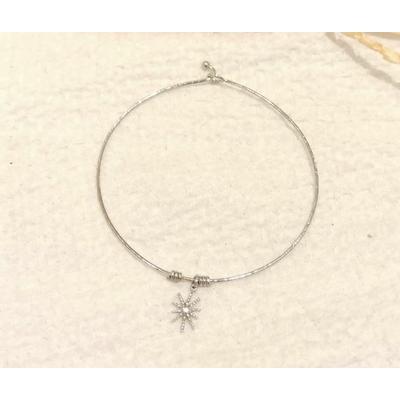 Bracelet jonc fin soleil argenté - Mile mila