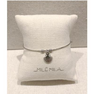 Bracelet jonc fin coquillage argenté - Mile mila