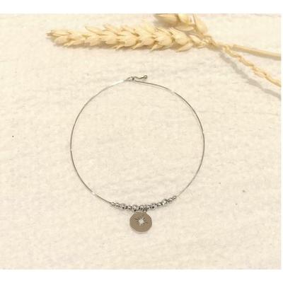 Bracelet jonc fin étoile argenté - Mile mila