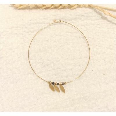 Bracelet jonc fin 3 feuilles et perles noires doré - Mile mila