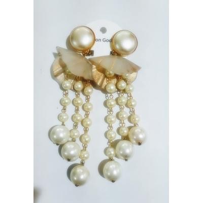 Boucles d'oreilles clips perles et éventails - Marion Godart
