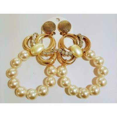 Boucles d'oreilles clips perles et strass - Marion Godart