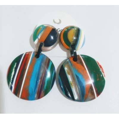 Boucles d'oreilles clips rayures multi-couleurs avec transparent - Marion Godart