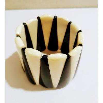 Bracelet élastiqué backgammon noir et ivoire - Marion Godard