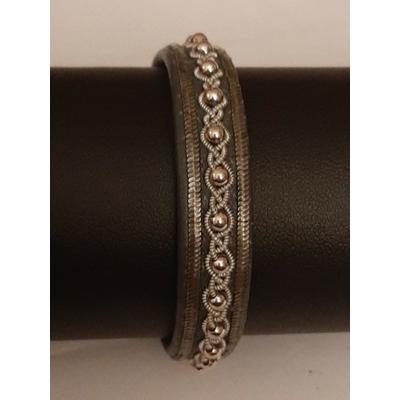 Bracelet AMARE collection nocturne - cuir naturel de renne et fils d'argent - Hanna Wallmark