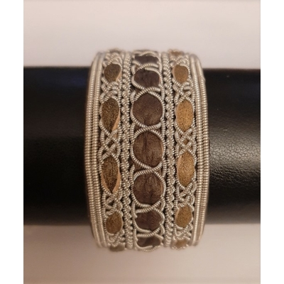 Bracelet ANCORE marron collection classic - cuir naturel de renne et fils d'argent - Hanna Wallmark
