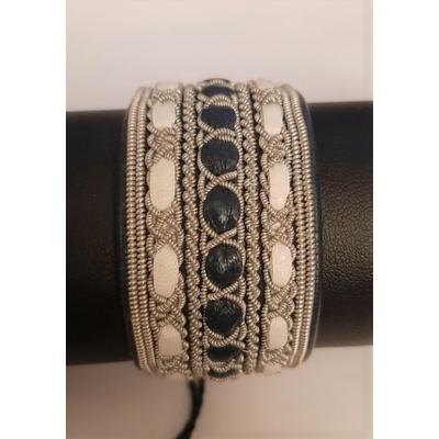 Bracelet ANCORE noir collection classic - cuir naturel de renne et fils d'argent - Hanna Wallmark