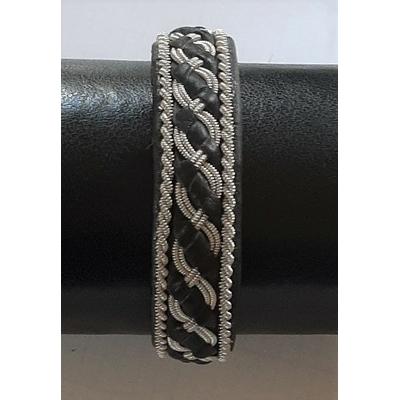 Bracelet AURORE DE LUXE collection classic - cuir naturel de renne et fils d'argent - Hanna Wallmark