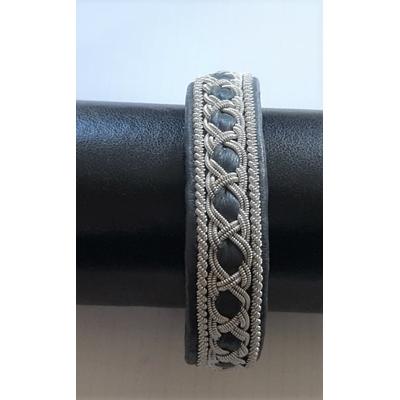 Bracelet AURORE DE LUXE REPTILE collection reptile- cuir naturel de reptile et fils d'argent - Hanna Wallmark