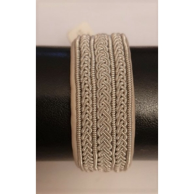 Bracelet GORZA collection classic manchette - cuir naturel de renne et fils d'argent - Hanna Wallmark