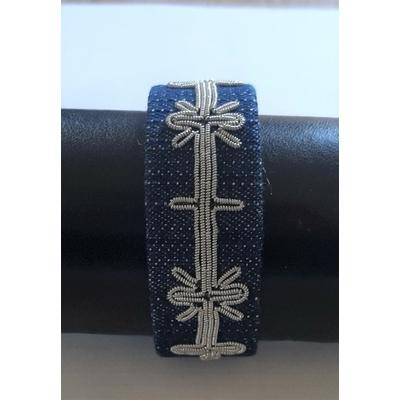 Bracelet MOON collection broderie - toile de jean et fils d'argent - Hanna Wallmark