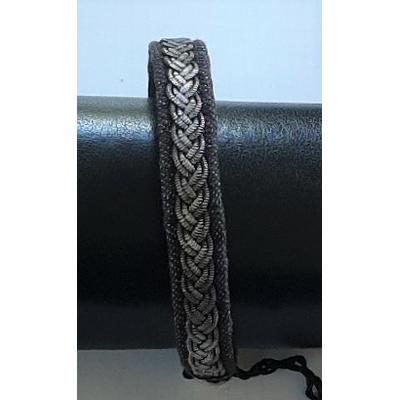 Bracelet MOSSA VINTAGE collection jean - cuir naturel de renne et fils d'argent - Hanna Wallmark
