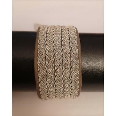 Bracelet QUINTO collection classic manchette - cuir naturel de renne et fils d'argent - Hanna Wallmark