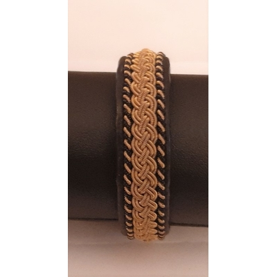 Bracelet ROLLIN collection gold - cuir naturel de renne et fils d'argent - Hanna Wallmark