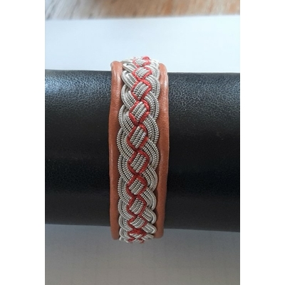 Bracelet WATER orange collection tribal- cuir naturel de renne et fils d'argent - Hanna Wallmark