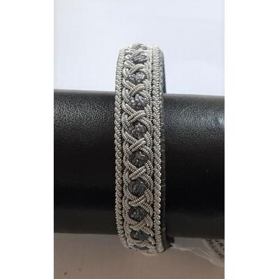 Bracelet AURORE collection classic - cuir naturel de renne et fils d'argent - Hanna Wallmark