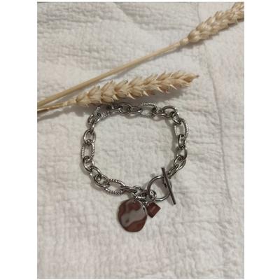 Bracelet maille + pièce martelée argenté acier inoxydable - Mile Mila