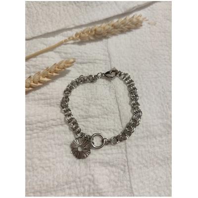 Bracelet maille + rond froissé argenté acier inoxydable - Mile Mila