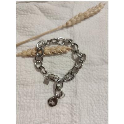 Bracelet maille + goutte argenté acier inoxydable - Mile Mila