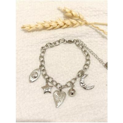 Bracelet maille + 5 breloques argenté acier inoxydable - Mile Mila