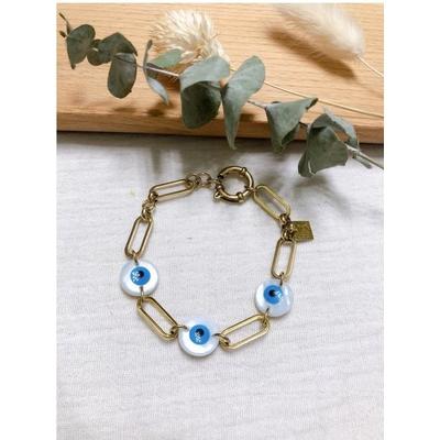 Bracelet maille mauvais oeil nacre bleu doré acier inoxydable - Mile Mila