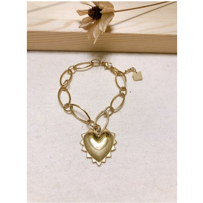 Bracelet grand coeur doré acier inoxyable - Mile Mila