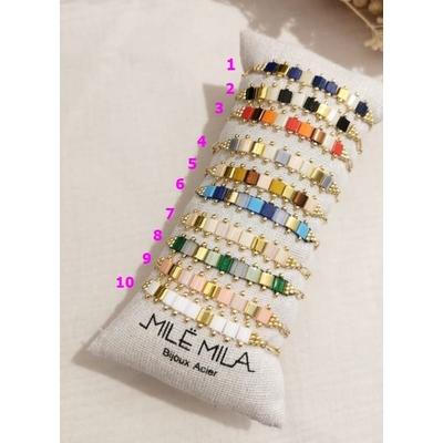 Bracelets pierres Miyuki doré chaine acier inoxydable - Mile Mila