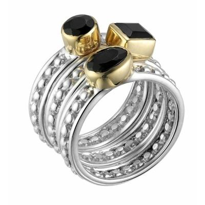 Bague 3 anneaux argent 925 petites boules et ovale carre rond en onyx noir serti de laiton - Canyon