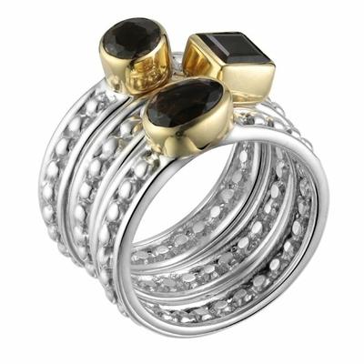Bague 3 anneaux argent 925 petites boules et ovale carre rond en quartz fumé serti de laiton - Canyon