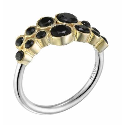 Bague argent 14 onyx noirs ronds sertis griffes en laiton anneau argent 925 - Canyon