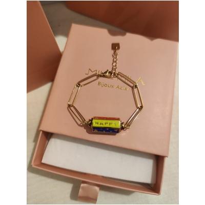 Bracelet cylindre HAPPY AMOUR DREAM multi-doré acier inoxydable - Mile mila