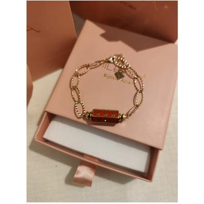 Bracelet cylindre étoile rouge-doré acier inoxydable - Mile Mila
