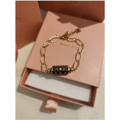 Bracelet cylindre étoile noir-doré acier inoxydable - Mile Mila