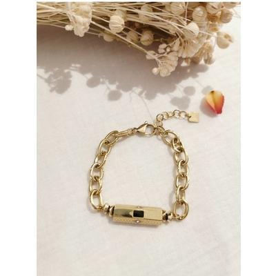 Bracelet cylindre noir-doré acier inoxydable - Mile Mila