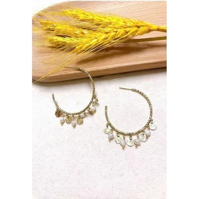 Boucles d'oreilles créoles perles nacrées acier inoxydable - Mile Mila
