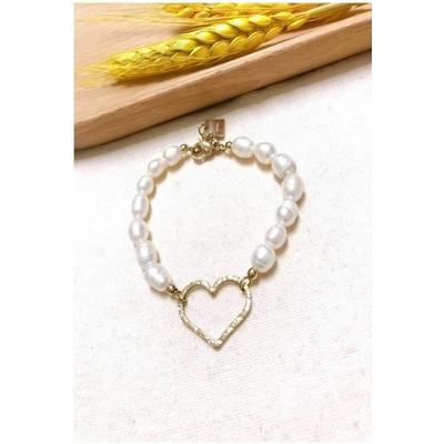 Bracelet coeur doré perles nacrées acier inoxydable - Mile Mila