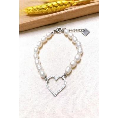 Bracelet coeur argent perles nacrées acier inoxydable - Mile Mila