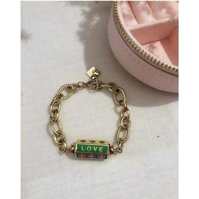 Bracelet LOVE HAPPY LUCKY multicolore-doré acier inoxydable - Mile Mila