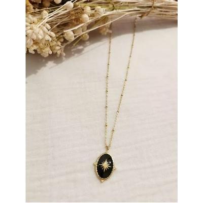 Collier constellation ovale noir-doré acier inoxydable - Mile Mila