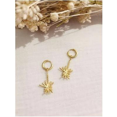 Boucles d'oreilles mini créoles étoile doré acier inoxydable - Mile Mila
