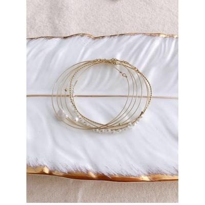 Bracelet semainier perles nacre doré acier inoxydable - Mile Mila