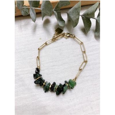 Bracelet pierre turquoise africaine chaine acier inoxydable - Mile Mila