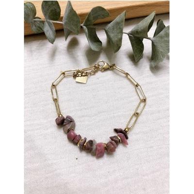 Bracelet rhodonite chaine acier inoxydable - Mile Mila