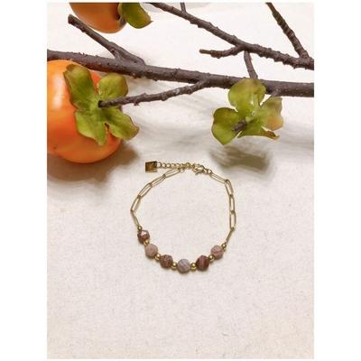Bracelet pierre rhodonite taillée chaine acier inoxydable - Mile Mila